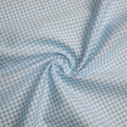 Pale Blue Gingham PolyCotton Fabric