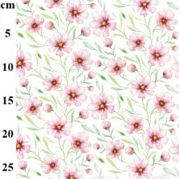 Pale Pink Flowers Cotton Jersey White