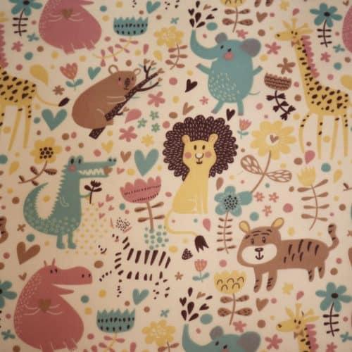 Play Safari Animals on Cream PolyCotton Fabric