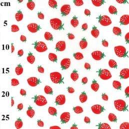 Ripe Strawberries on Ivory PolyCotton Fabric