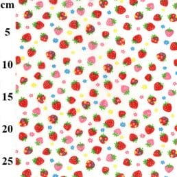Strawberries on White PolyCotton Fabric
