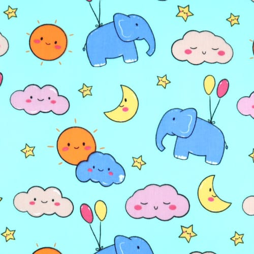 Happy Clouds on Blue Cotton Fabric
