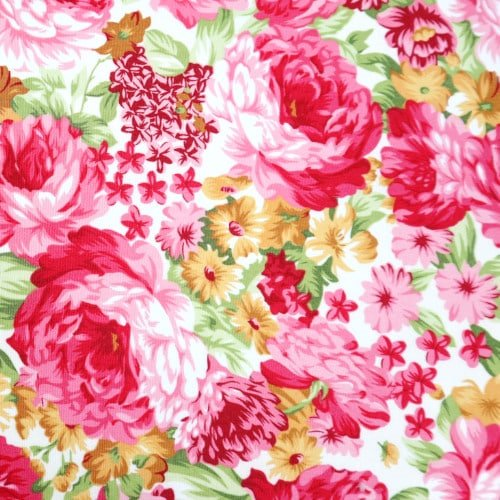 Pink Peonies on Ivory Cotton Fabric