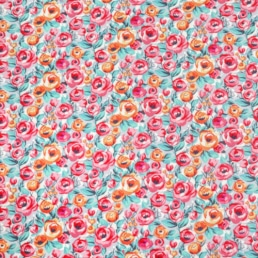 Pink Roses on Lilac Cotton Fabric