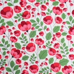 Red Poppies on White Cotton Fabric
