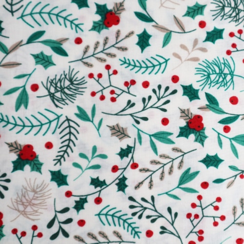 Christmas Mistletoe on Ivory Cotton Fabric
