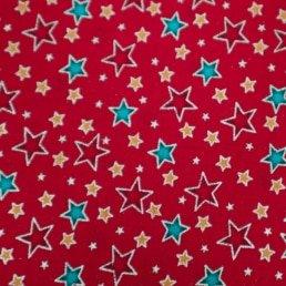 Festive Stars on Red Cotton Fabric