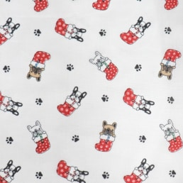 Pugs in Stockings on White PolyCotton Fabric