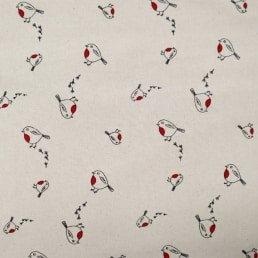 Christmas Robins on Natural Cotton Fabric
