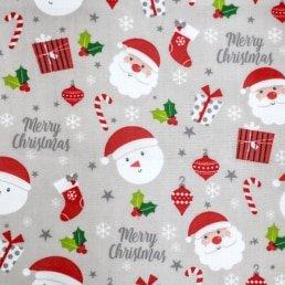 Christmas Family Fun on Grey PolyCotton Fabric