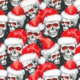 "Santa Skulls on Black Cotton Fabric (60"" wide)"