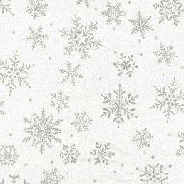 Silver Snowflakes on White Glitter Cotton Fabric