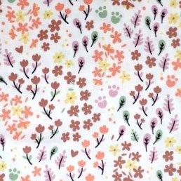 Autumn Flowers Cotton Jersey White