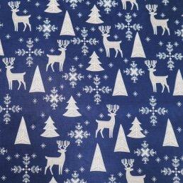 Winter Scene on Navy Cotton Fabric