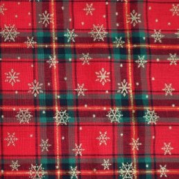 Red Tartan with Gold Snowflakes Cotton Fabric