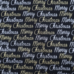 Merry Christmas in Silver and Gold on Black Cotton Fabric