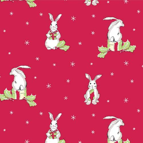 Christmas Bunnies on Red Cotton Fabric