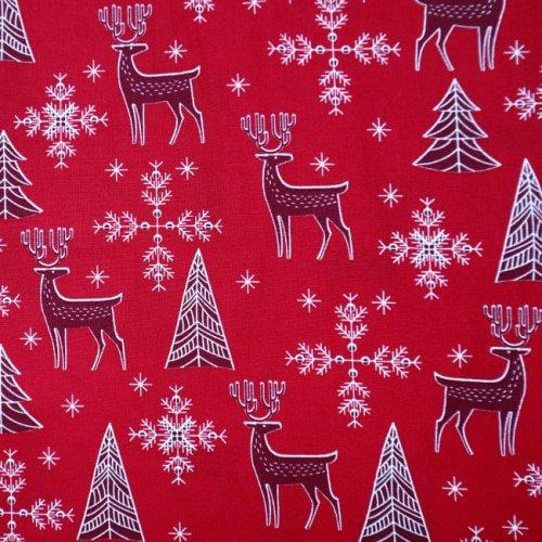 Christmas Deer Scene on Red Cotton Fabric