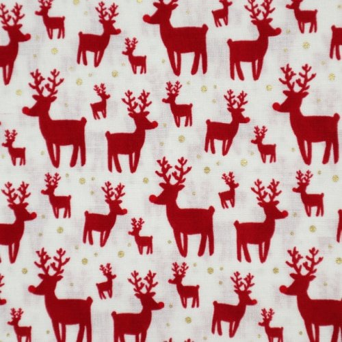 Christmas Deers on White Cotton Fabric