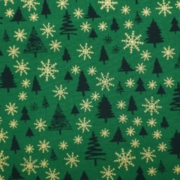 Christmas Trees and Snowflakes on Green Cotton Fabric