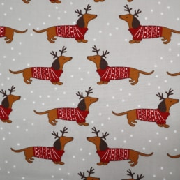 Dachshund Dog in Christmas Jumper on Silver PolyCotton Fabric