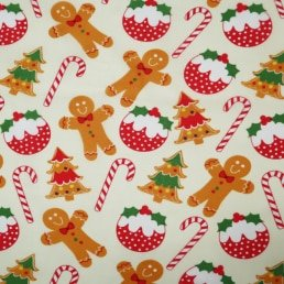 Gingerbread Men with Christmas Treats on Cream PolyCotton Fabric