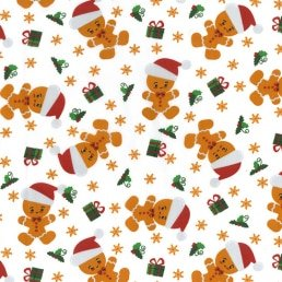 Gingerbread Men with Santa Hats on White PolyCotton Fabric