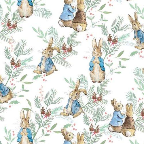 Peter Rabbit Christmas Ferns on White Cotton Fabric
