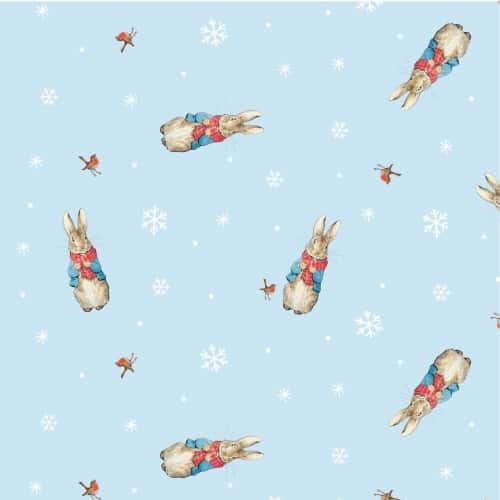 Peter Rabbit Christmas Woolly Scarf on Sky Blue Cotton Fabric