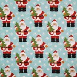 Santa Claus and Christmas Tree on Sky Blue PolyCotton Fabric