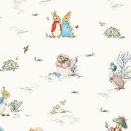 Peter Rabbit and Friends on Cream Cotton Fabric